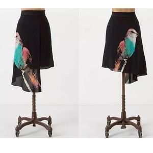 Anthro leofsdottir asymmetrical bird silk skirt 0